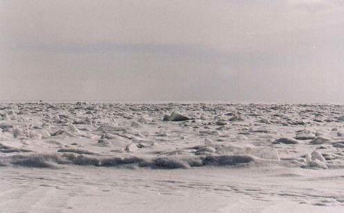Lake Baikal's frozen ice waves.