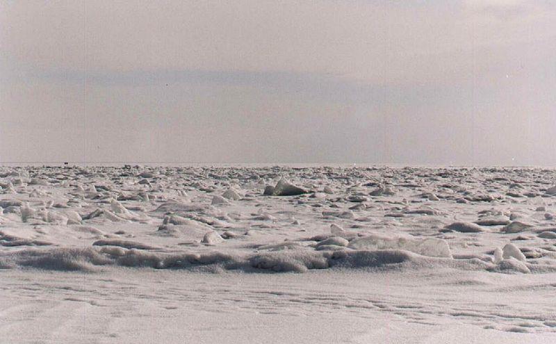 Lake Baikal's frozen ice waves.