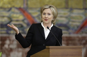 Hillary Clinton addresses MGU (Moscow State University) students.