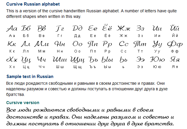 Images of Russian Printed And Cursive Chart - #rock-cafe