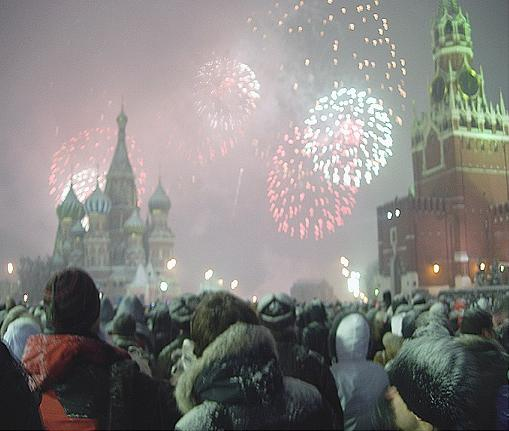 Fireworks at the New Year on Red Square.