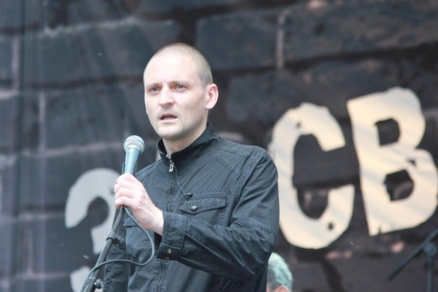 Sergei Udaltsov at a Moscow protest rally.