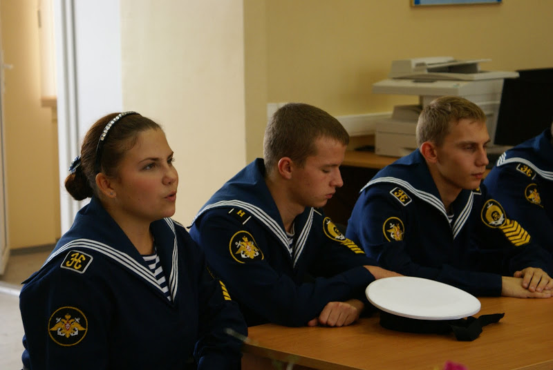 Some young students attend Russian military style cadet school.