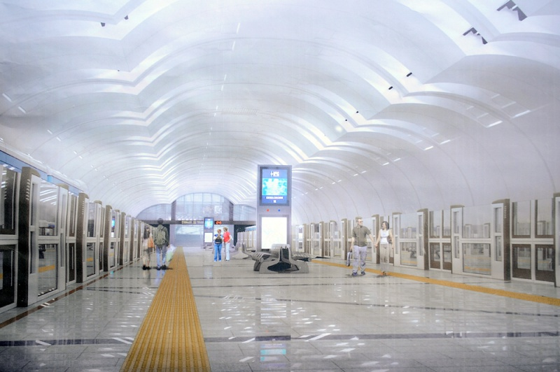 "The new station ""Forest Park"" will be the first with glass enclosures on platforms."