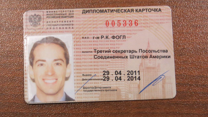 Fogle's Russian issued diplomatic pass.