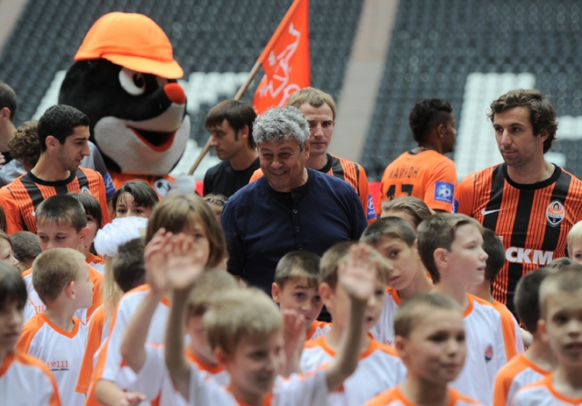 football club Shakhtar Donetsk plays orphanage