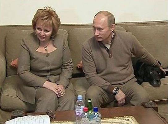 The Putin's with their older dog, Conny.