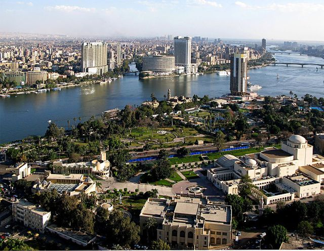 The Nile runs through most of Egypt's major cities. This is the capital, Cairo.