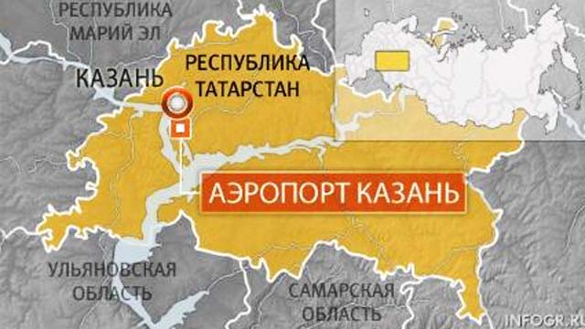 Map of area where Kazan airport is located.