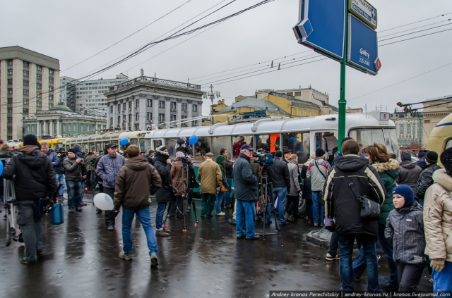 Crowds gathered along the parade route to ride the old trolleybuses.