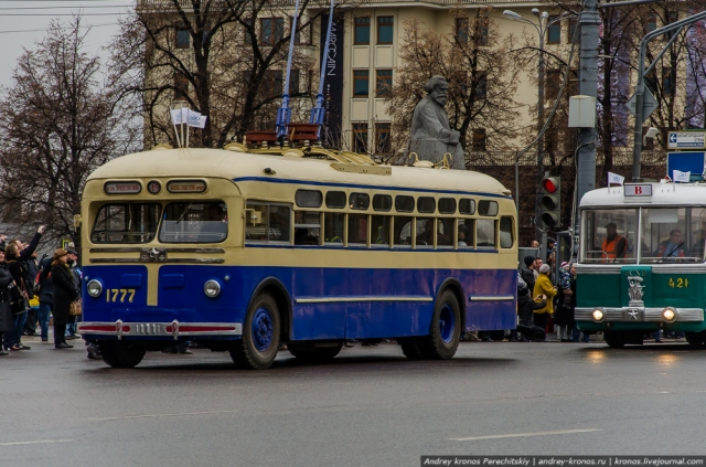 Moscow parade of antique trolleybuses. (Photo: Kronos.LiveJournal)