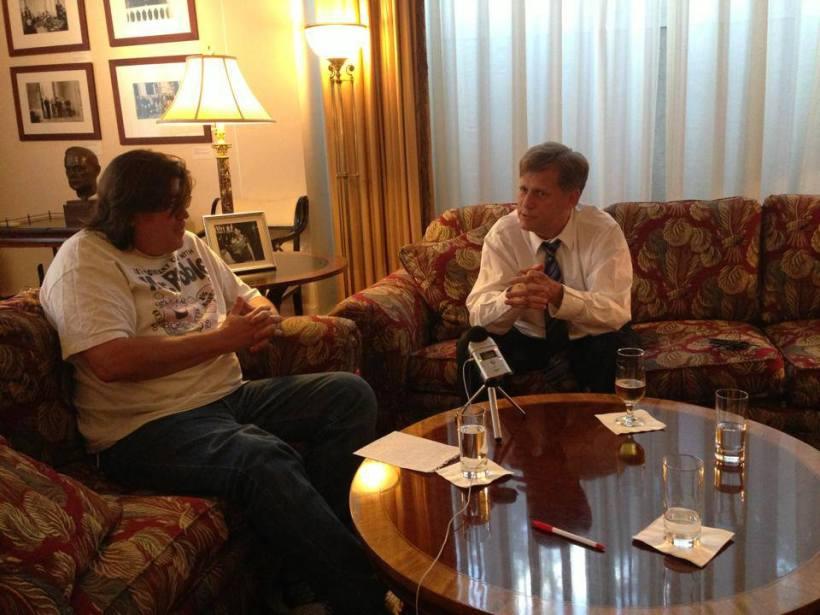 Ambassador McFaul and Moscow's English language radio host Pete Cato.