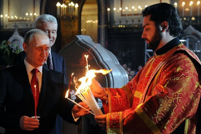 Easter 2014 Christ Cathedral Putin Sobyanin