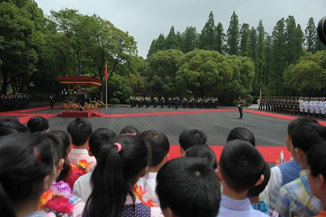Ceremonies for President Putin's arrival in China.