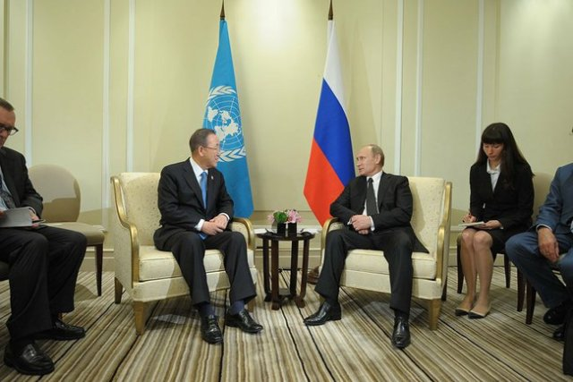 UN Secretary-General Ban Ki-moon and Russian President Vladimir Putin.