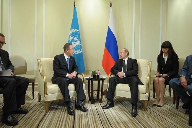 UN Secretary-General Ban Ki-moon and Russian President Vladimir Putin.