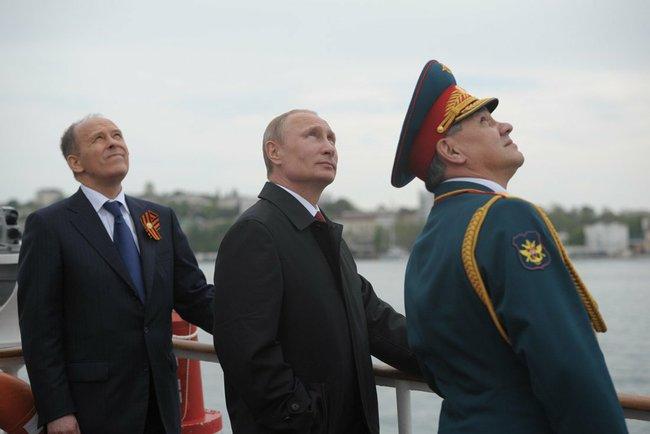 Victory Day Crimea Putin Gen Sergei Shoigu Def Min and FSS Dir Alek Bortnikov