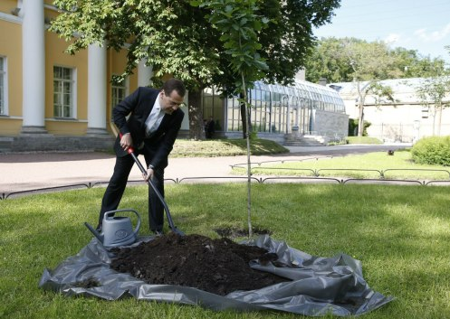 PM Medvedev planted a tree on the estate grounds.