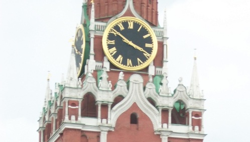 "Moscow Kremlin's most famous tower, the ""Saviour"" tower often considered as the official clock of Russia."